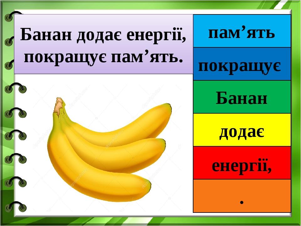 пам'ять покращує Банан додає енергії, . Банан додає енергії, покращує пам'ять.
