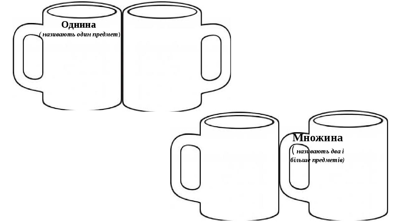 Однина ( називають один предмет) Множина ( називають два і більше предметів)