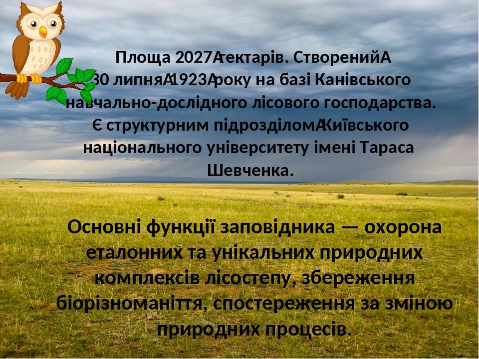 Площа 2027гектарів. Створений 30 липня1923року на базі Канівського навчально-дослідного лісового господарства. Є структурним підрозділомКиївсь...