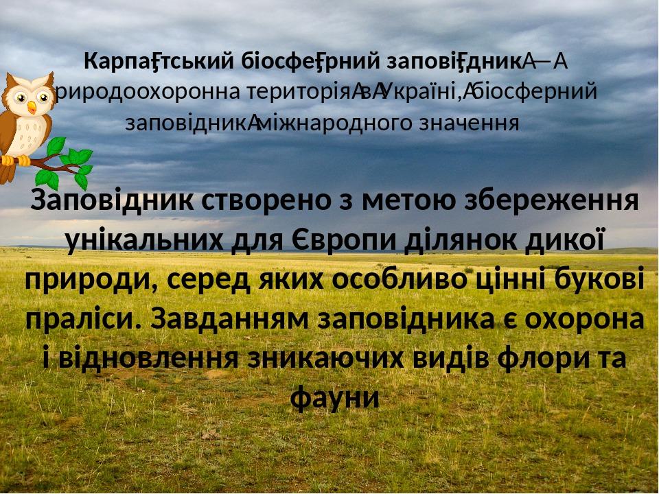 Карпа́тський біосфе́рний запові́дник—природоохоронна територіявУкраїні,біосферний заповідникміжнародного значення Заповідник створено з метою...