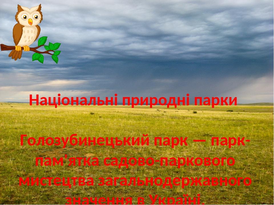 Національні природні парки Голозубинецький парк — парк-пам'ятка садово-паркового мистецтва загальнодержавного значення в Україні. Розташовується на...