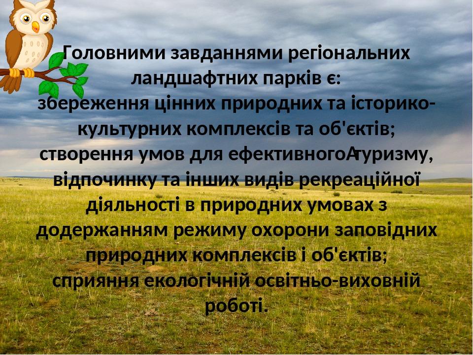 Головними завданнями регіональних ландшафтних парків є: збереження цінних природних та історико-культурних комплексів та об'єктів; створення умов д...