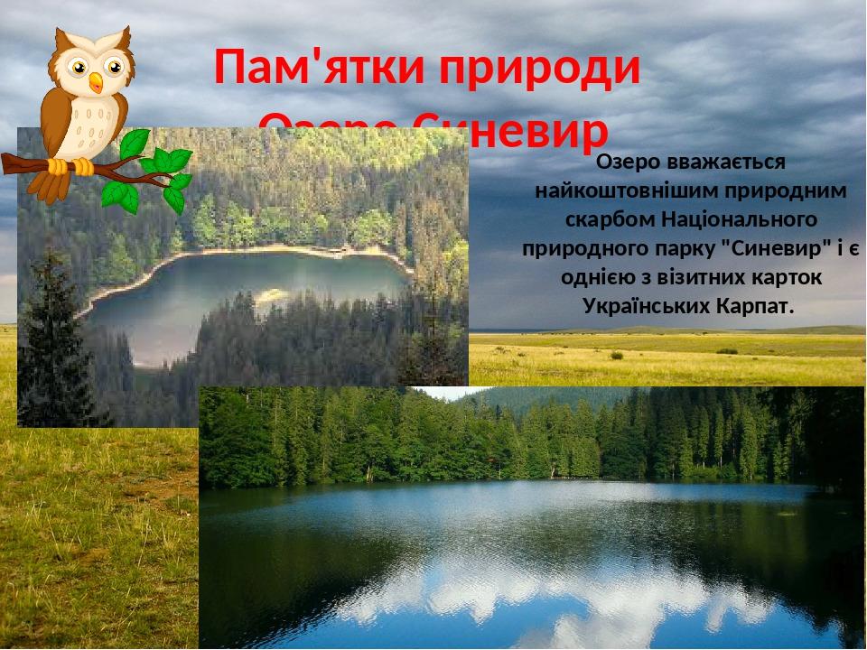 """Пам'ятки природи Озеро Синевир Озеро вважається найкоштовнішим природним скарбом Національного природного парку """"Синевир"""" і є однією з візитних кар..."""