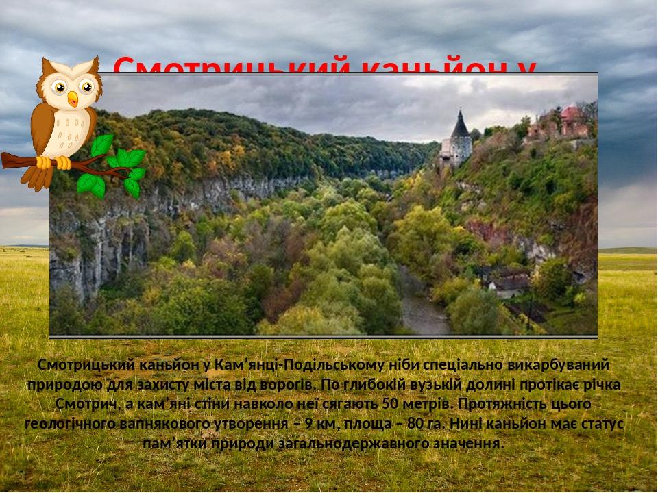 Смотрицький каньйон у Кам'янці-Подільському Смотрицький каньйон у Кам'янці-Подільському ніби спеціально викарбуваний природою для захисту міста від...