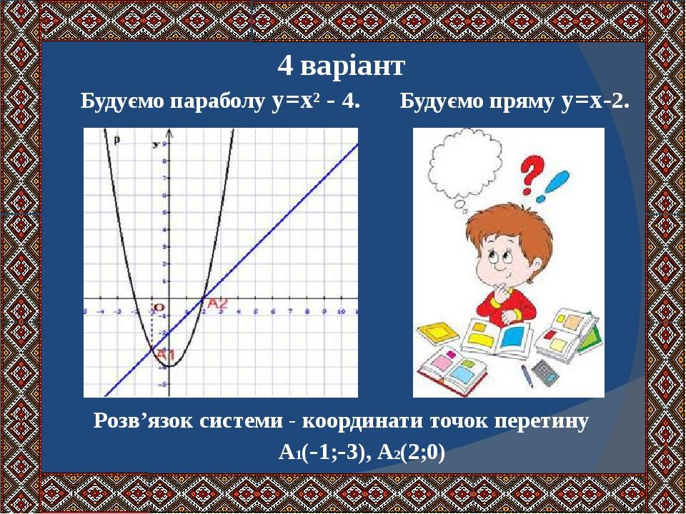4 варіант Будуємо параболу у=х² - 4. Будуємо пряму у=х-2. Розв'язок системи - координати точок перетину А1(-1;-3), А2(2;0)