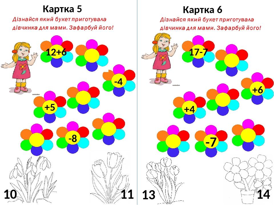 Картка 5 Картка 6 12+6 -4 +5 -8 10 11 17-7 +6 +4 -7 13 14