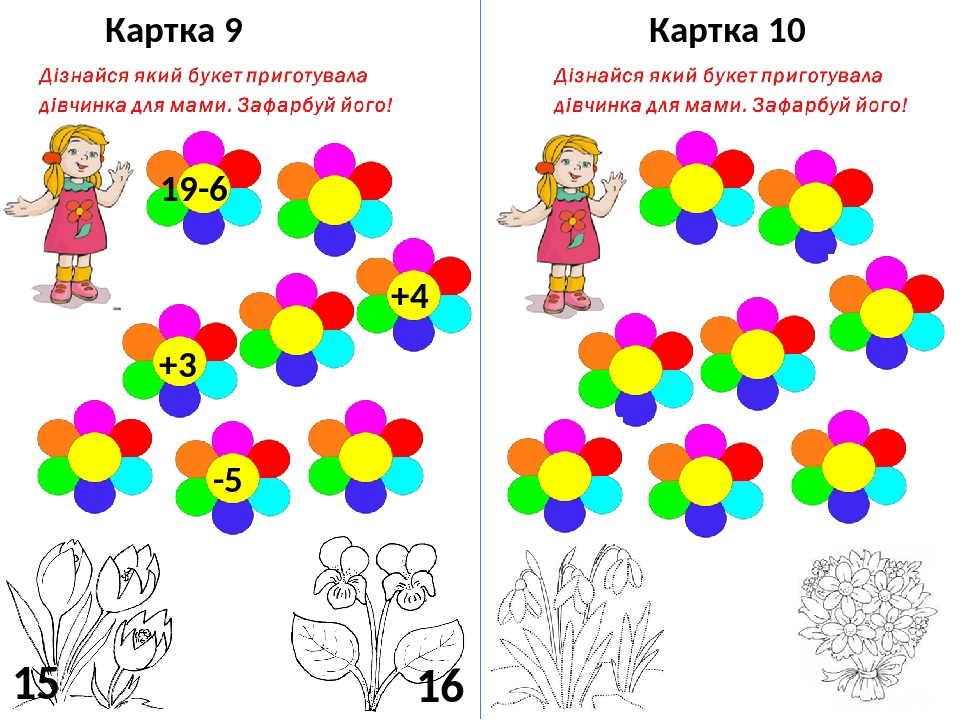 Картка 9 19-6 +4 +3 -5 15 16 Картка 10