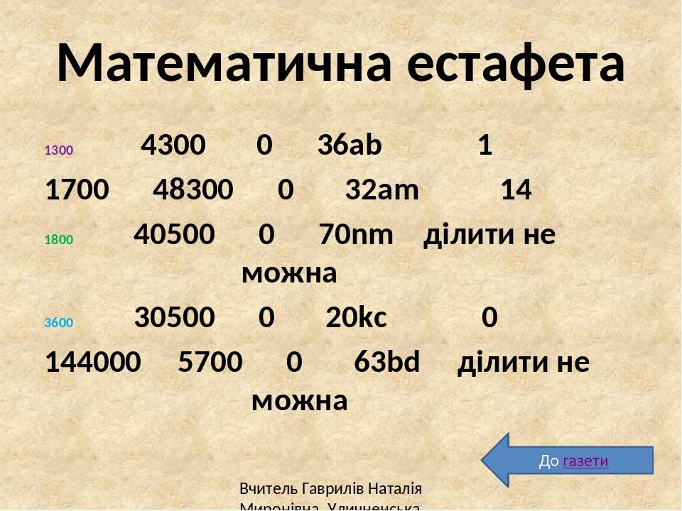 Домашнє завдання № 482, 503(3,4), 507 Підготуватися до контрольної роботи Вчитель Гаврилів Наталія Миронівна, Уличненська СЗШ І-ІІІст.