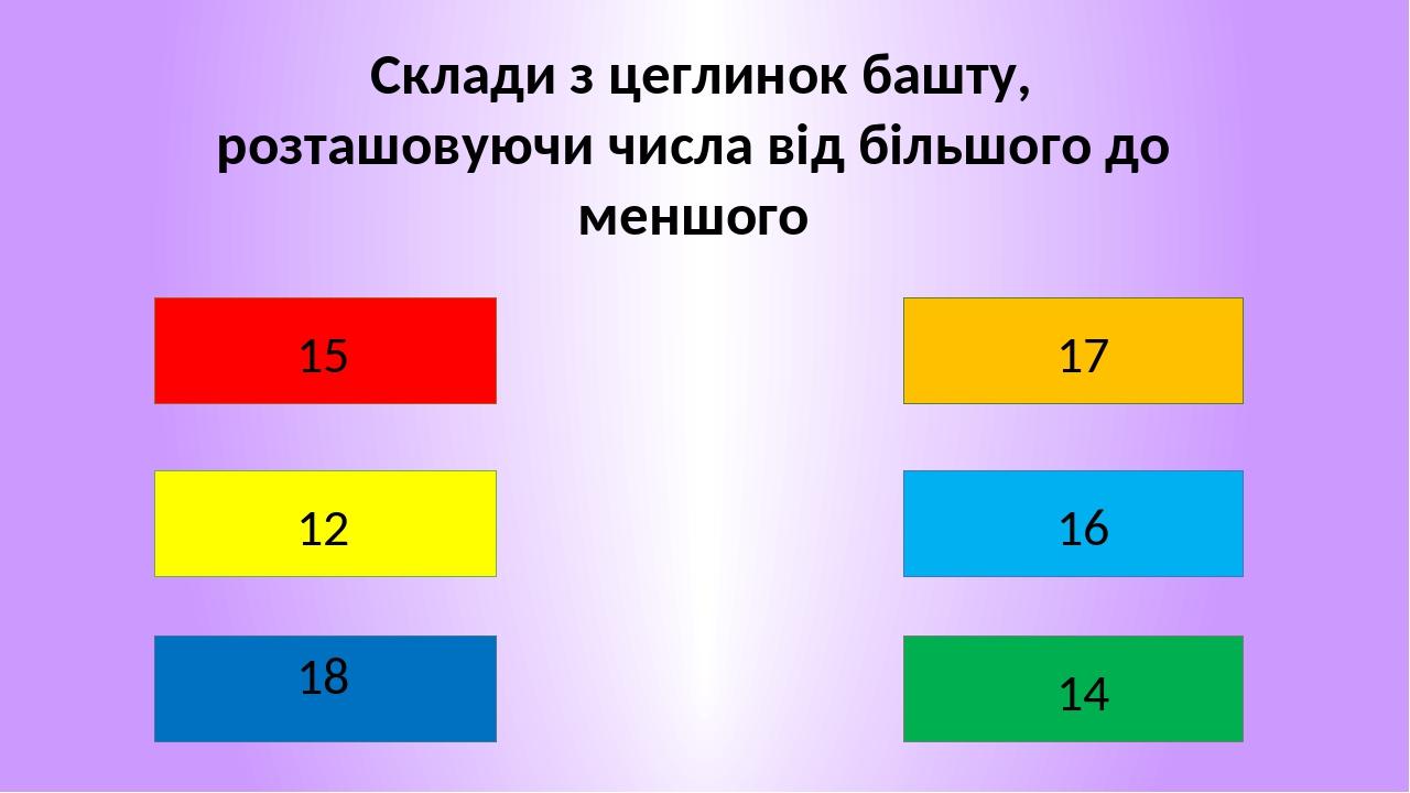 Склади з цеглинок башту, розташовуючи числа від більшого до меншого 12 18 17 16 14 15