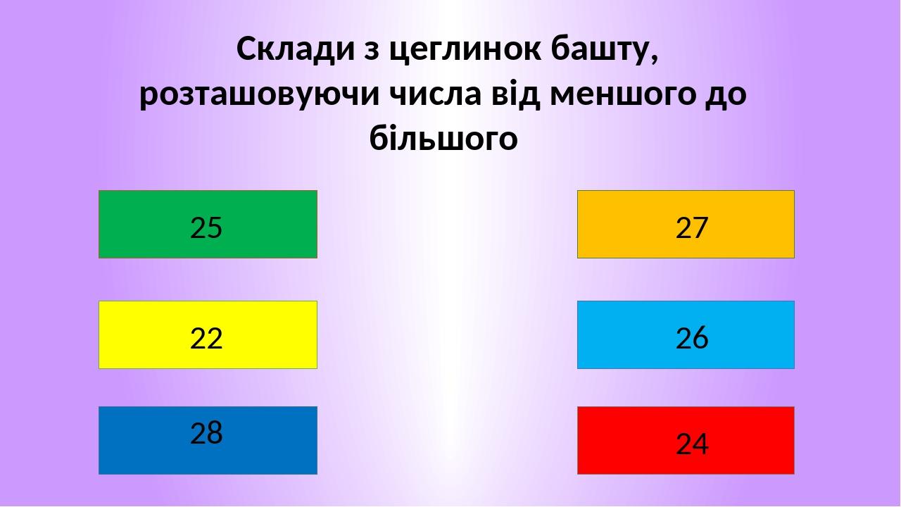Склади з цеглинок башту, розташовуючи числа від меншого до більшого 22 28 27 26 24 25