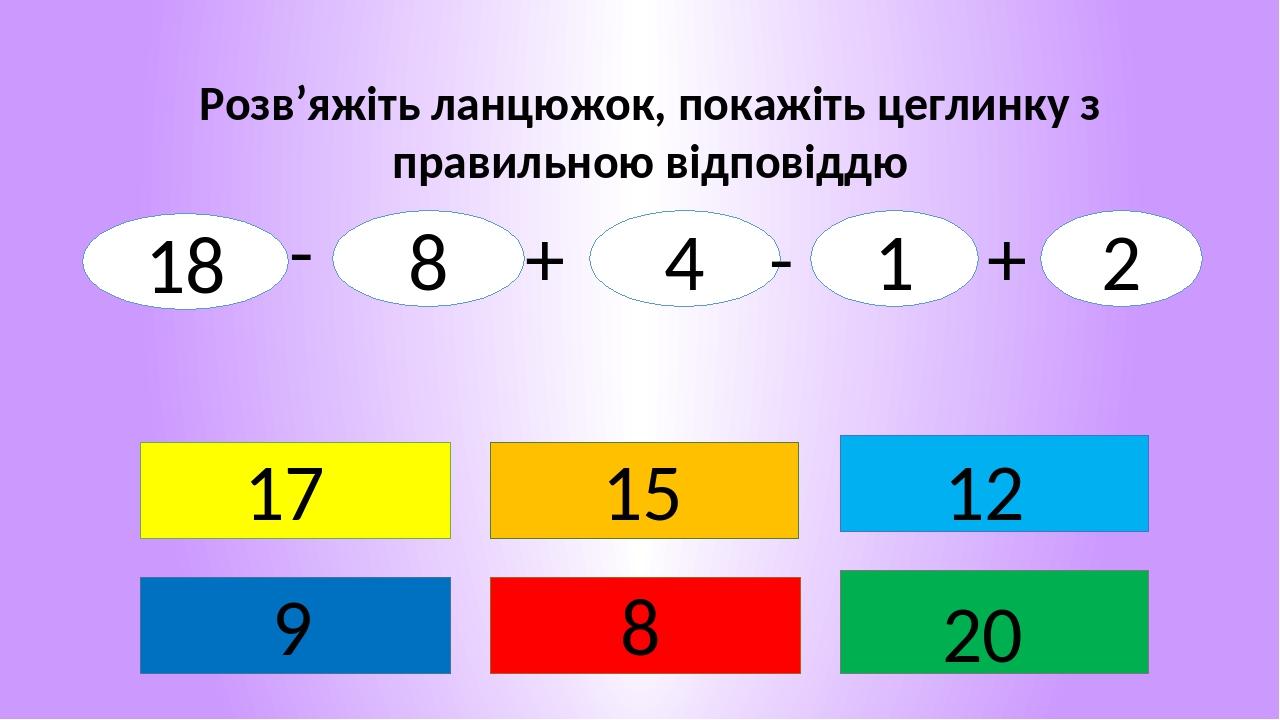 Розв'яжіть ланцюжок, покажіть цеглинку з правильною відповіддю 8 17 9 12 20 15 18 8 4 1 2 - + - +