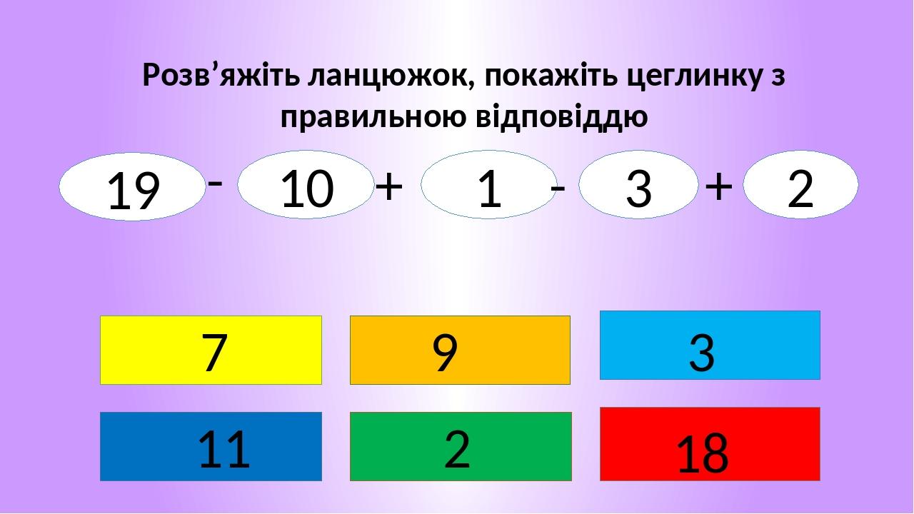 Розв'яжіть ланцюжок, покажіть цеглинку з правильною відповіддю 2 7 11 3 18 9 19 10 1 3 2 - + - +