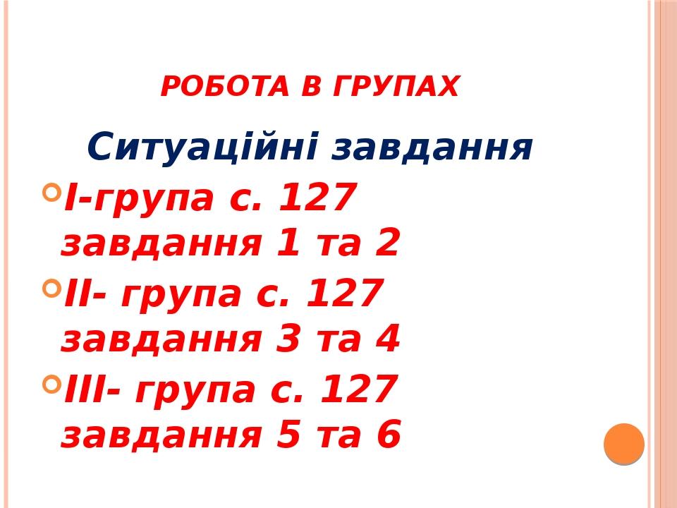 Робота в групах Ситуаційні завдання I-група c. 127 завдання 1 та 2 II- група с. 127 завдання 3 та 4 III- група с. 127 завдання 5 та 6