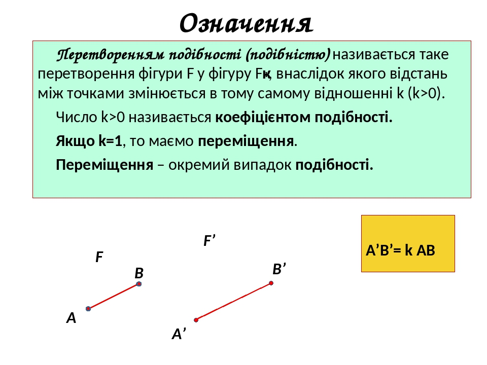 Означення Перетворенням подібності (подібністю) називається таке перетворення фігури F у фігуру F′, внаслідок якого відстань між точками змінюється...