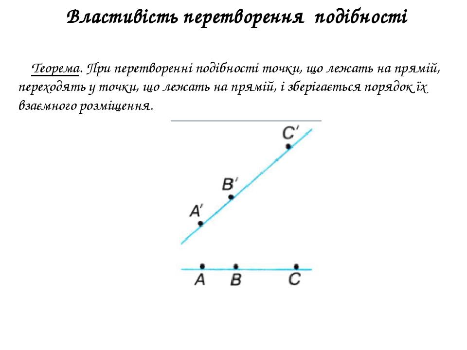 Властивість перетворення подібності Теорема. При перетворенні подібності точки, що лежать на прямій, переходять у точки, що лежать на прямій, і збе...