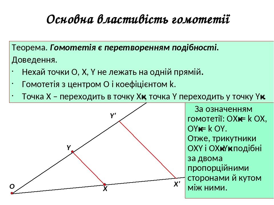 Основна властивість гомотетії Теорема. Гомотетія є перетворенням подібності. Доведення. Нехай точки О, Х, Y не лежать на одній прямій. Гомотетія з ...