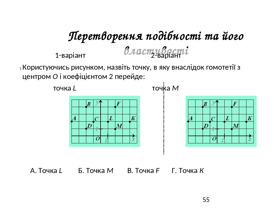 Перетворення подібності та його властивості 1-варіант 2-варіант Користуючись рисунком, назвіть точку, в яку внаслідок гомотетії з центром О і коефі...