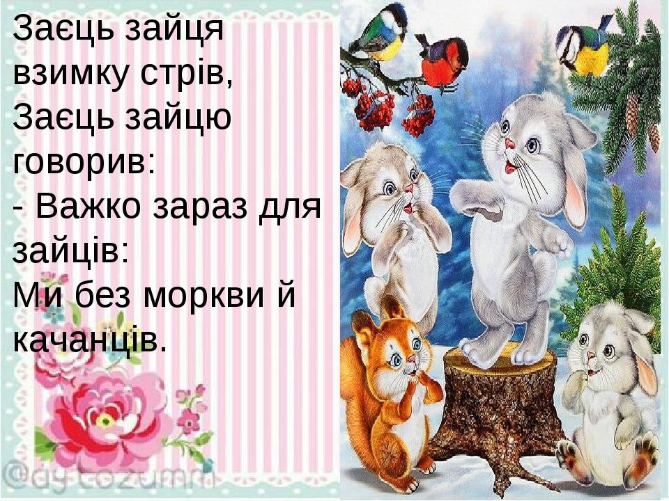 Заєць зайця взимку стрів, Заєць зайцю говорив: - Важко зараз для зайців: Ми без моркви й качанців.
