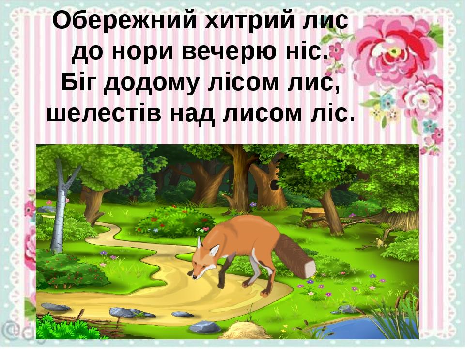 Обережний хитрий лис до нори вечерю ніс. Біг додому лісом лис, шелестів над лисом ліс.