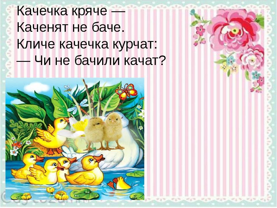 Качечка кряче — Каченят не баче. Кличе качечка курчат: — Чи не бачили качат?