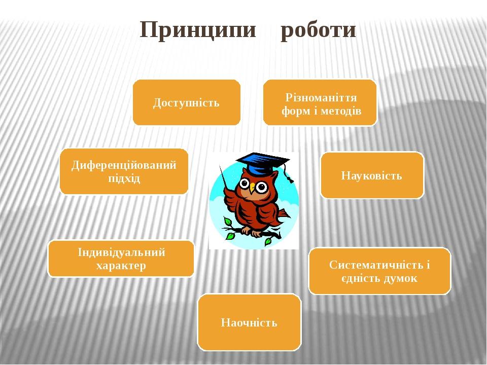 Принципи роботи Різноманіття форм і методів Доступність Науковість Систематичність і єдність думок Індивідуальний характер Наочність Диференційован...