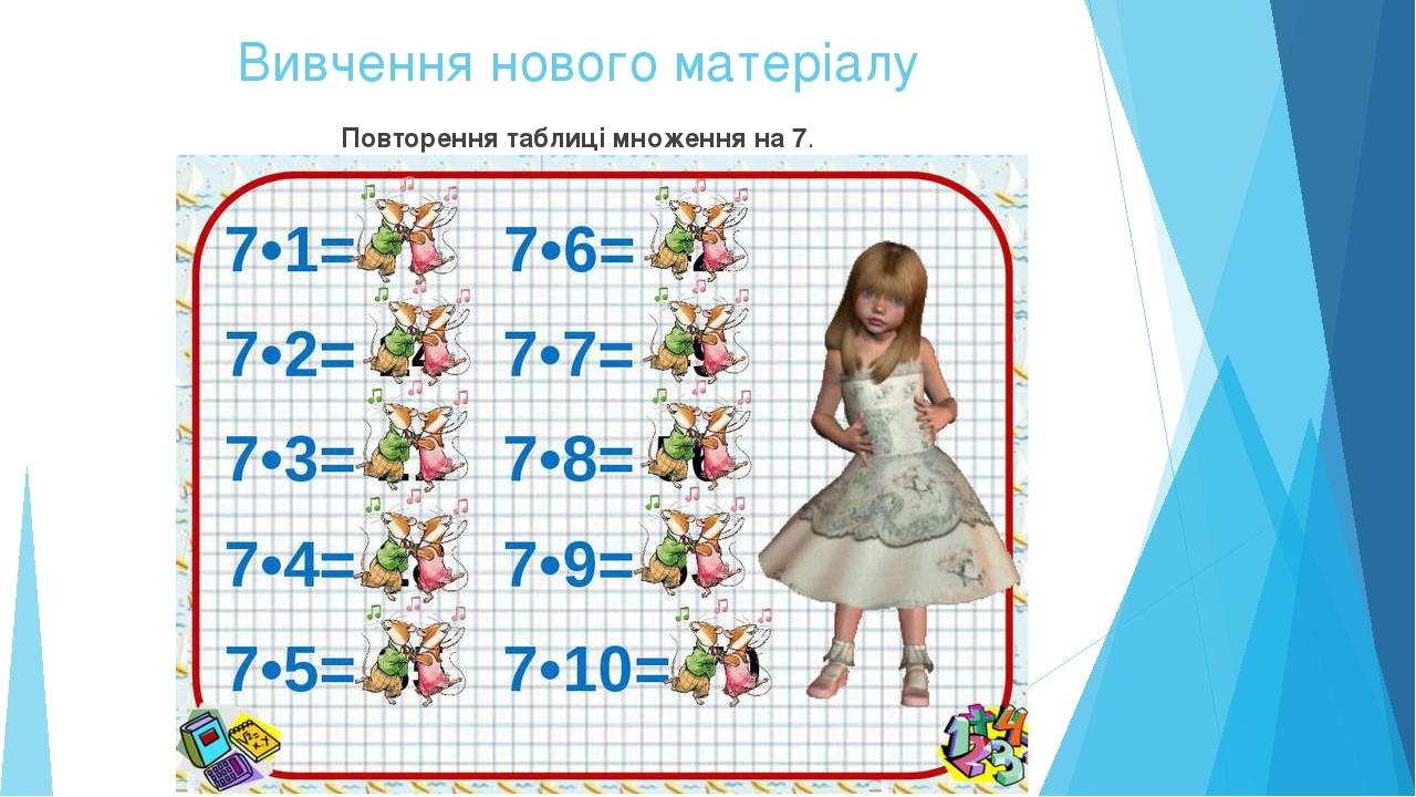 Вивчення нового матеріалу Повторення таблиці множення на 7.