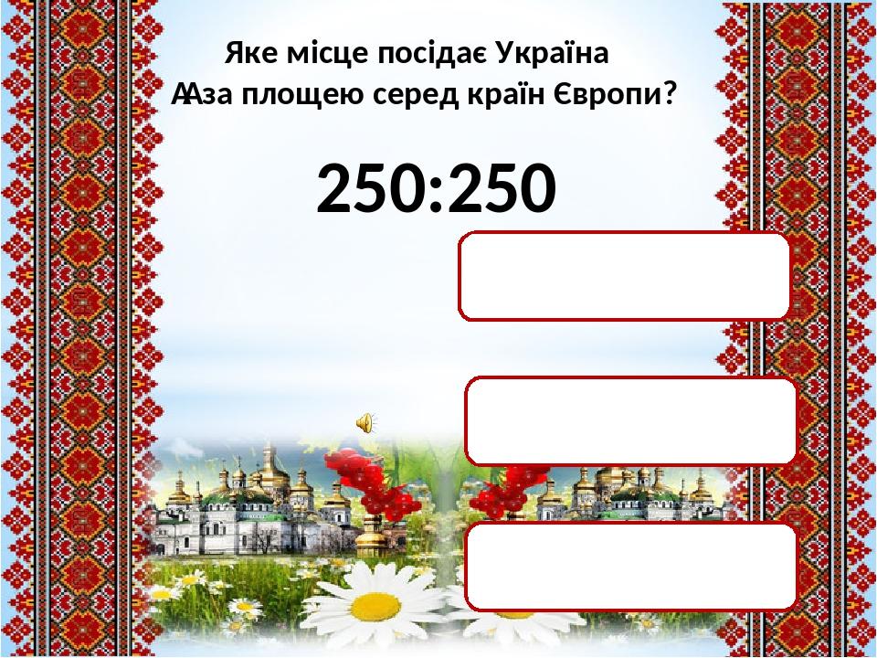 250:250 1 місце 250 місце 2 місце Яке місце посідає Україна  за площею серед країн Європи?