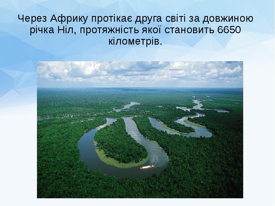 Через Африку протікає друга світі за довжиною річка Ніл, протяжність якоїстановить 6650 кілометрів.