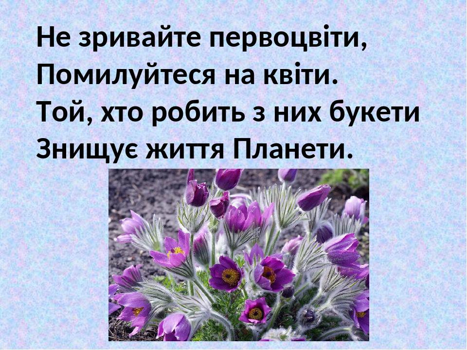 Не зривайте первоцвіти, Помилуйтеся на квіти. Той, хто робить з них букети Знищує життя Планети.