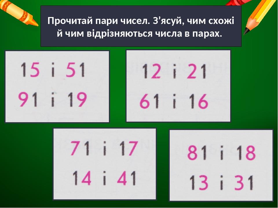 Прочитай пари чисел. З'ясуй, чим схожі й чим відрізняються числа в парах.