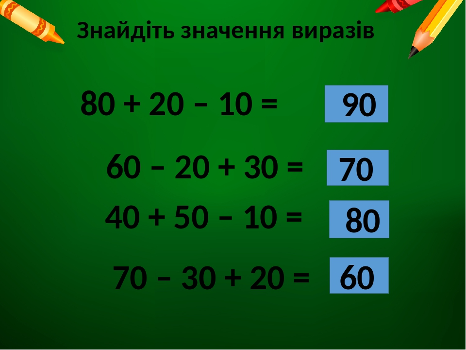 Знайдіть значення виразів 80 + 20 – 10 = 60 – 20 + 30 = 40 + 50 – 10 = 70 – 30 + 20 = 90 70 80 60