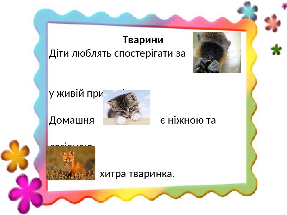 Тварини Діти люблять спостерігати за у живій природі. Домашня є ніжною та лагідною. хитра тваринка.