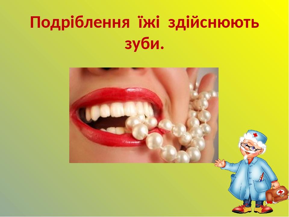 Подріблення їжі здійснюють зуби.
