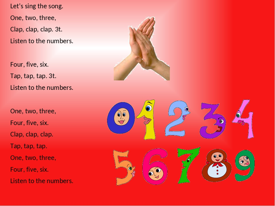 Let's sing the song. One, two, three, Clap, clap, clap. 3t. Listen to the numbers. Four, five, six. Tap, tap, tap. 3t. Listen to the numbers. One, ...