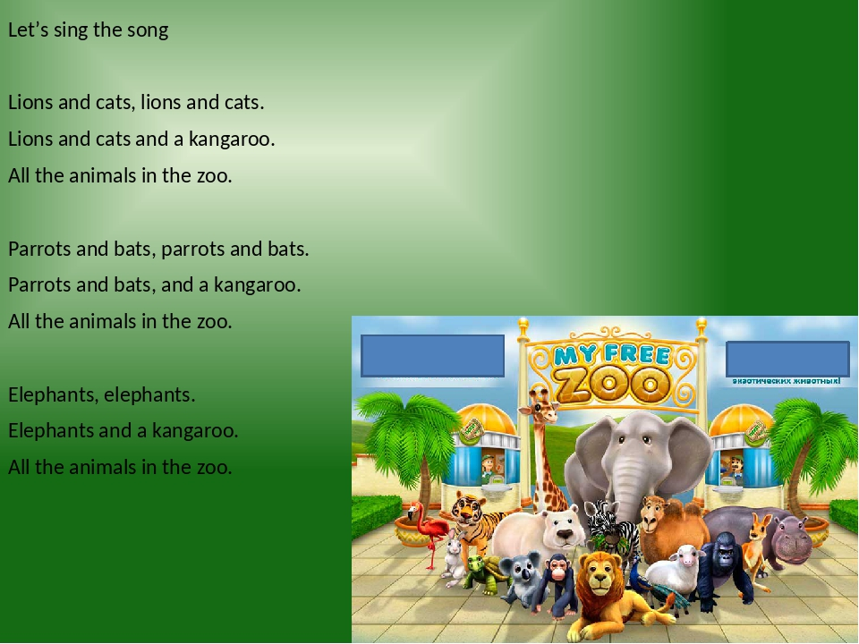 Let's sing the song Lions and cats, lions and cats. Lions and cats and a kangaroo. All the animals in the zoo. Parrots and bats, parrots and bats. ...