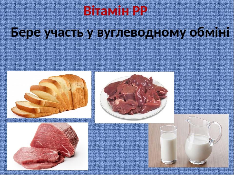 Вітамін РР Бере участь у вуглеводному обміні