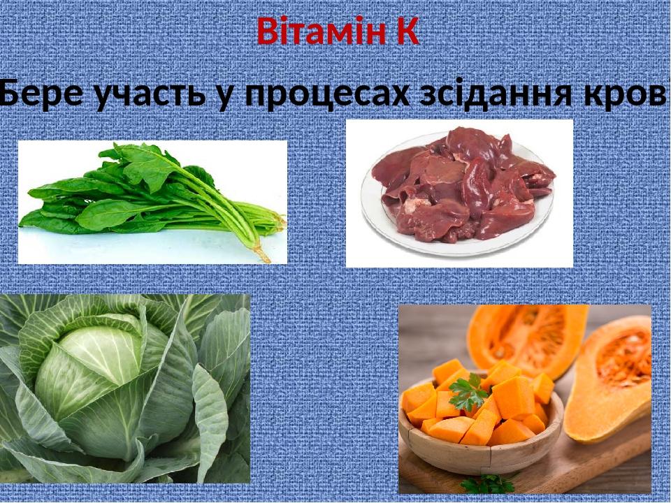 Вітамін К Бере участь у процесах зсідання крові