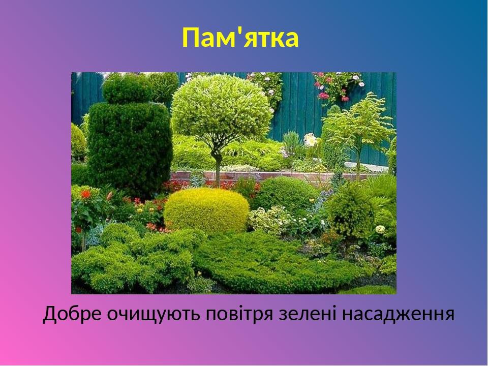 Пам'ятка Добре очищують повітря зелені насадження
