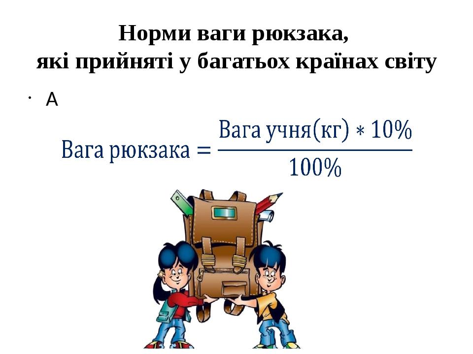 Норми ваги рюкзака, які прийняті у багатьох країнах світу