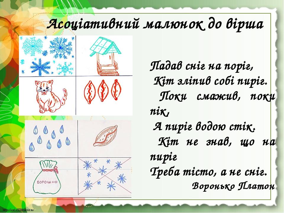 Асоціативний малюнок до вірша Падав сніг на поріг, Кіт зліпив собі пиріг. Поки смажив, поки пік, А пиріг водою стік. Кіт не знав, що на пиріг Треба...