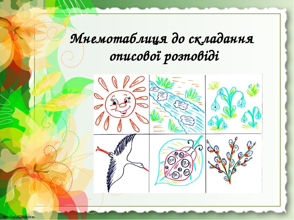 Мнемотаблиця до складання описової розповіді http://linda6035.ucoz.ru/ http://linda6035.ucoz.ru/