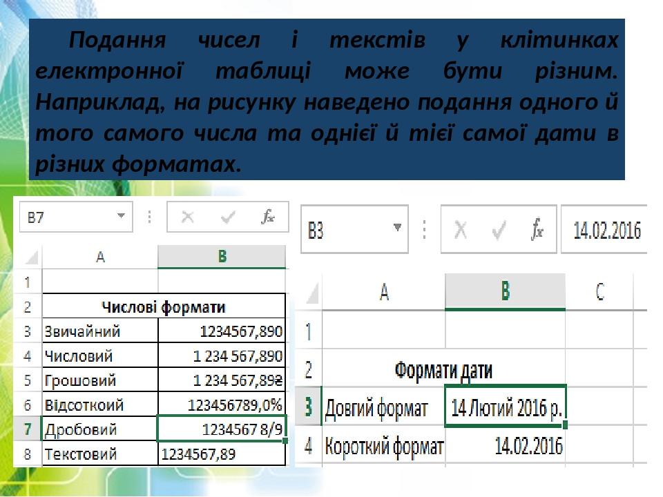 Подання чисел і текстів у клітинках електронної таблиці може бути різним. Наприклад, на рисунку наведено подання одного й того самого числа та одні...