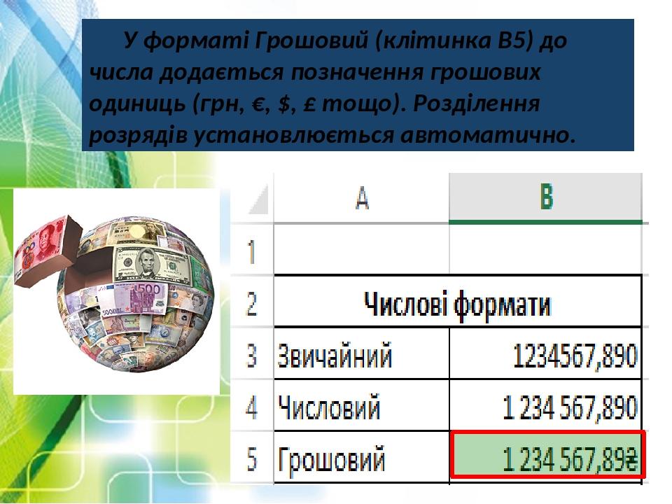 У форматі Грошовий (клітинка В5) до числа додається позначення грошових одиниць (грн, €, $, £ тощо). Розділення розрядів установлюється автоматично.