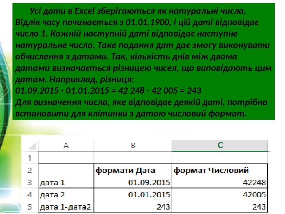 Усі дати в Excel зберігаються як натуральні числа. Відлік часу починається з 01.01.1900, і цій даті відповідає число 1. Кожній наступній даті відпо...