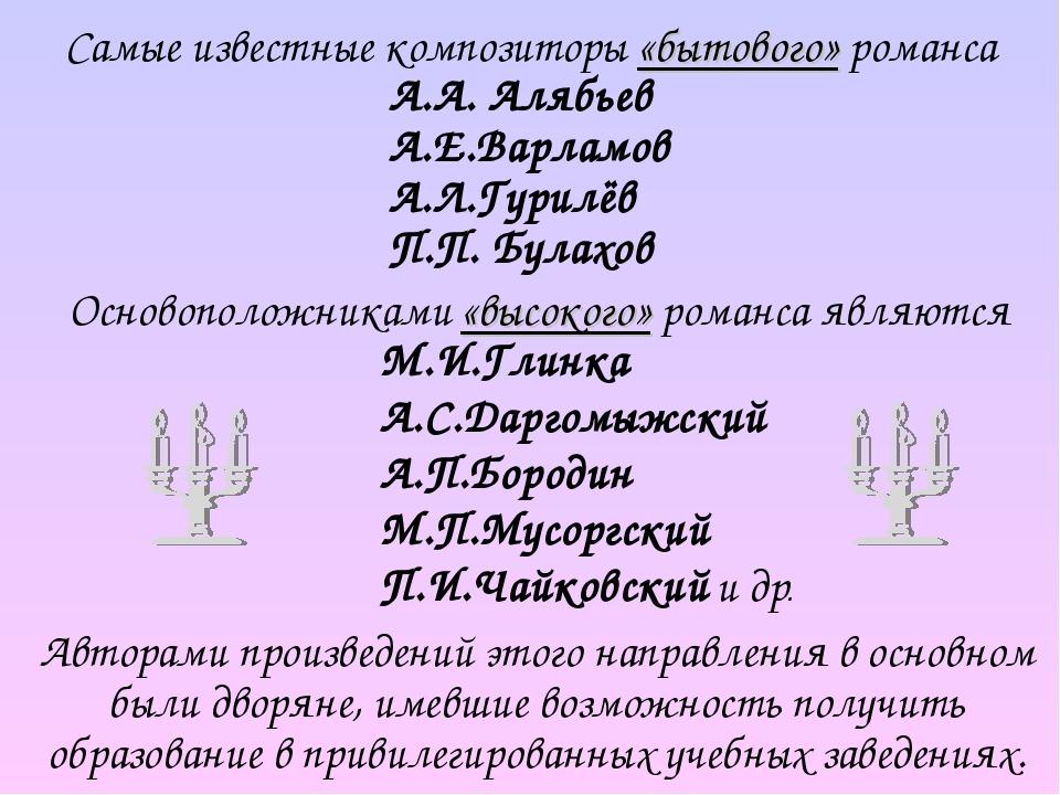 Самые известные композиторы «бытового» романса М.И.Глинка А.С.Даргомыжский А.П.Бородин М.П.Мусоргский П.И.Чайковский и др. Авторами произведений эт...