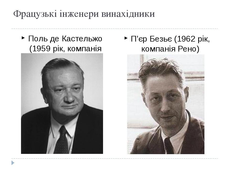 Фрацузькі інженери винахідники Поль де Кастельжо (1959 рік, компанія Сітроен) П'єр Безьє (1962 рік, компанія Рено)
