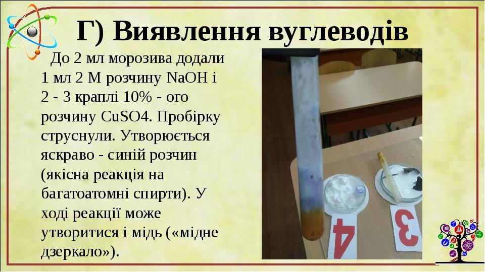 Г) Виявлення вуглеводів До 2 мл морозива додали 1 мл 2 М розчину NaOH і 2 - 3 краплі 10% - ого розчину CuSO4. Пробірку струснули. Утворюється яскра...