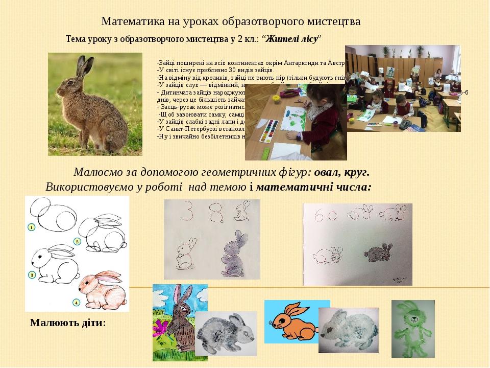 """Тема уроку з образотворчого мистецтва у 2 кл.: """"Жителі лісу"""" -Зайці поширені на всіх континентах окрім Антарктиди та Австралії. -У світі існує приб..."""