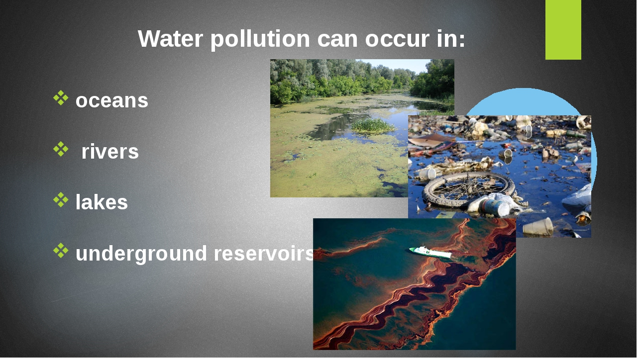Water pollution can occur in: oceans rivers lakes underground reservoirs