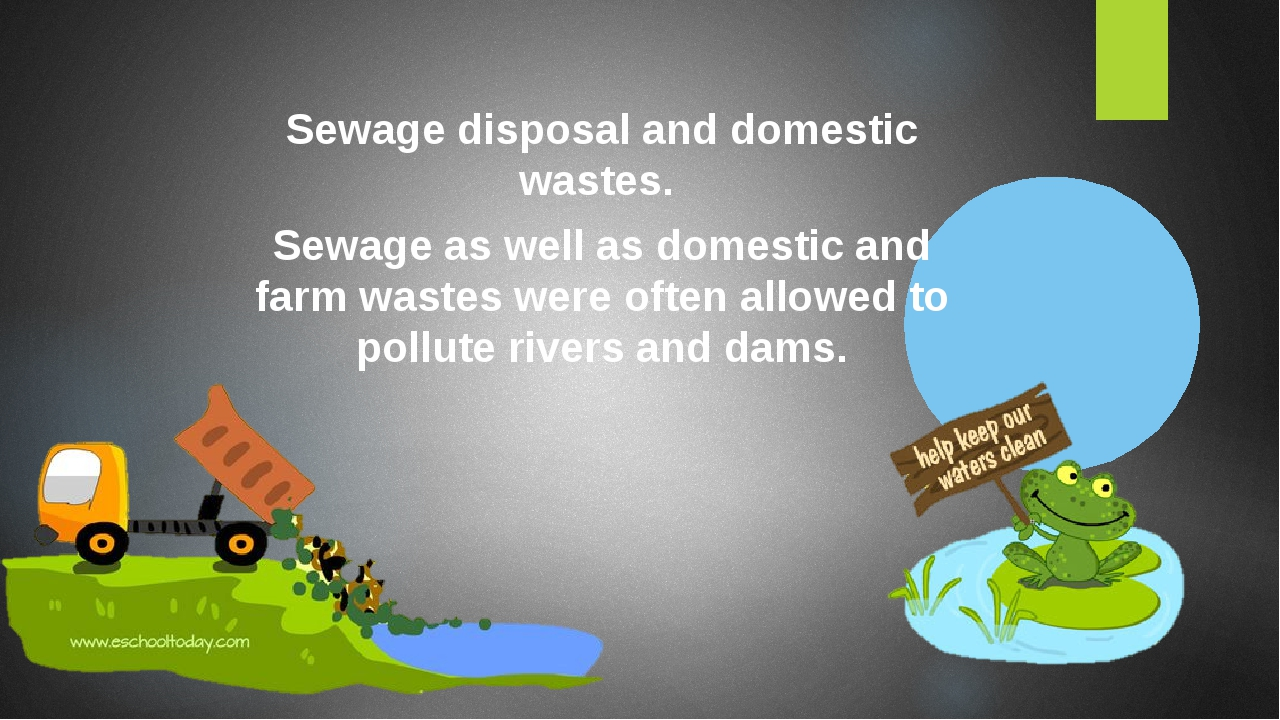 Sewage disposal and domestic wastes. Sewage as well as domestic and farm wastes were often allowed to pollute rivers and dams.